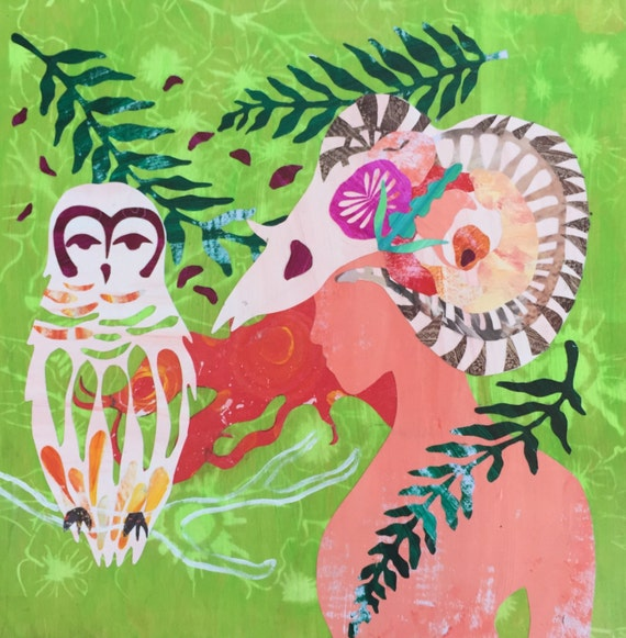 Print Art Owl Painting Aries Collage Wall Art Paper Art Owl Goddess Aries Ram Ram Horns