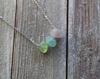 Sea Glass Nugget Necklace in Spring Colors   downbytheseaglass