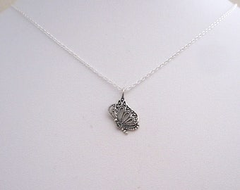 Small BUTTERFLY sterling silver charm with chain necklace