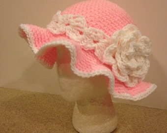 Crochet Pink and White Floppy Hat