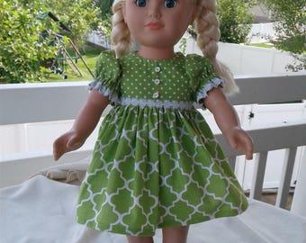 Green polka dot party dress - 18 inch doll clothes american girl - dress and pantaloon set