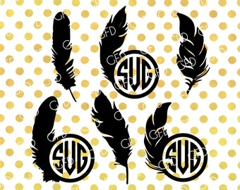 Feathers Monogram Frame SVG, Feathers SVG, Bird Feather SVG, Feathers Digital Cut File, Instant Download, Svg, Dxf, Jpg, Eps, Png