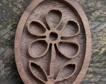 wooden flower pendant trays base blank  Wooden Bezel