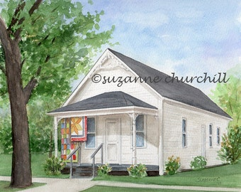 Marked Tree Arkansas Delta Area Museum, Restored House, a Giclee Print of an Original Watercolor by Suzanne Churchill, Arkansas History