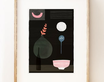 Modern still life art print 'Night Hours II'. Graphic art print, modern gallery wall art