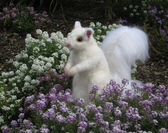 Wedding Cake Topper / Needle Felted Animal  Rare White Squirrel by Fiber Artist GERRY / Large