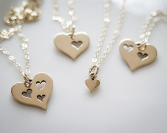 Mothers Day Gift - Ready to Ship -Mother Daughter Necklace Set by Betsy Farmer Designs - Available in Bronze or Sterling Silver