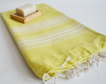 SALE 70 OFF / Turkish Beach Bath Towel / Classic Peshtemal / Yellow / Wedding Gift, Spa, Swim, Pool Towels and Pareo