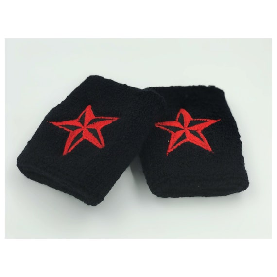 Red Nautical Star Wrist Sweatbands 2 Pack - Sporty Black Red Goth Grunge Accessory - Sporty Trendy Skater Grunge Wristband Aethletic Armband