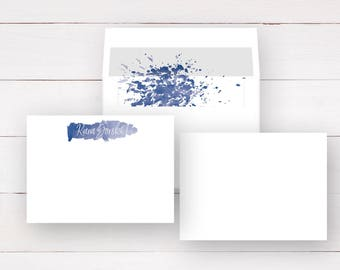 Personalized Stationery Set - Flat Notecards + Lined Envelopes (Sets of 10) / Watercolor / Personalized Note Cards / Personalized Stationary