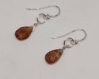 Beer quartz earrings also known as whiskey quartz. Quartz earrings come in both sterling silver and gold filled.