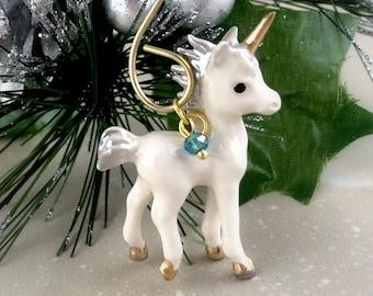 Porcelain Unicorn Ornament - Unicorn Christmas Ornament Decor - Personalized Birthstone Crystal - Womens Unicorn Gift For Her - Fantasy Gold