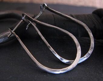 Black Ombre Earrings Black Hoop Earrings Black Rhodium Hammered Silver Earrings Black Earrings Horse Shoe Hoops Black Hoops Silver Hoops