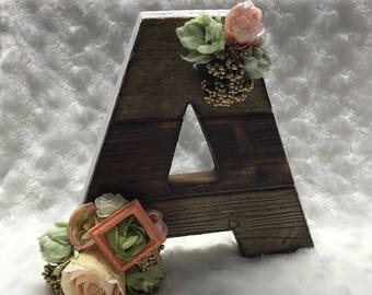 Custom wooden name initial, Freestanding wooden letters, Personalized wooden initial, Nursery decor, baby name, photoshoot prop