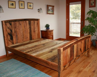 Cozy Country Bedframe from Wormy Chestnut and Reclaimed Oak