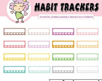50%off HABIT TRACKERS, Digital Planner Stickers, Habits, Trackers, clipart can be used with digital planning like Goodnotes