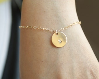 All 14K Gold Filled Customized Initial Disk Bracelet , engraved disk, Delicate simple, everyday wear, Material and number of disk to choose