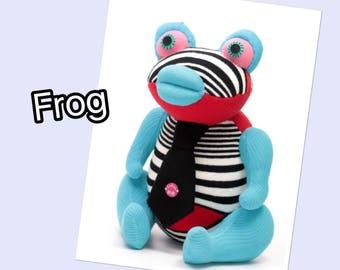 Handmade  Big Stuffed frog for kids  Stuffed Animal baby Plush Toy  Oophaga pumilio