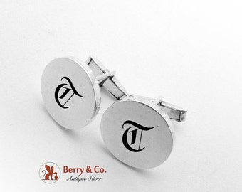 SaLe! sALe! Monogram T Round Cuff Links Sterling Silver Mexico 1960
