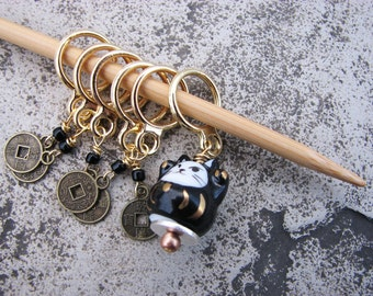 Lucky Black Cat and Coin Non-Snag Stitch Markers