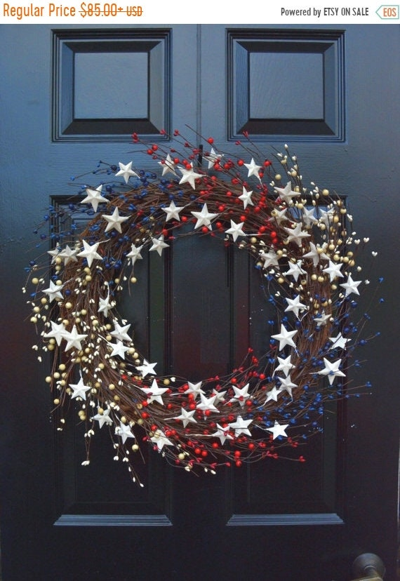 SUMMER WREATH SALE Memorial Day Wreath, Fourth of July Wreath, Americana Wreath, Patriotic Door Wreath, Country Wreath, Rustic Wreath Stars
