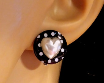 Black and White Stud Clip Earrings