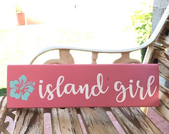 Island girl pink wood block sign | hawaii home decor | reclaimed pallet wood