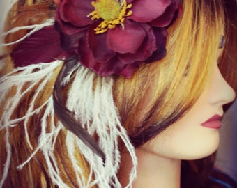 Fleur de cheveux en plumes - Snow Berry