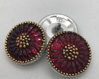 FUSCHIA Czech Glass Daisy Button, 18mm Czech Glass Button, 18mm Button, Daisy Button, Czech Glass Daisy, Czech Glass Buttons,