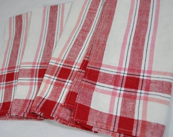 Set of 4 Linen Cotton Red Pink and Black Striped Napkins on White