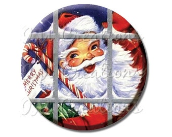 "LIQUIDATION SALE! Vintage Santa Claus Window Pocket Mirror, Magnet, or Pin - 2.25"""