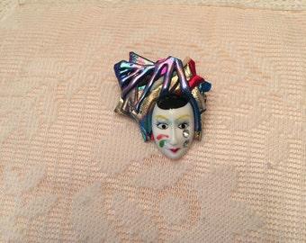 Vintage Clown Brooch or Pin ~ Handmade Brooch Pin ~ Costume Jewelry