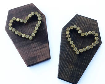 Bullet Casing Heart Plaque - Coffin