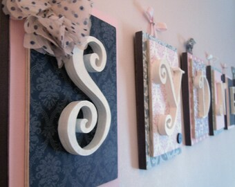 Nursery letters,Pink and Gray Nursery Decor, Girl Nursery Wall Art, Pink and Black Nursery, Girls Nursery Letters, Hanging Wall Letters