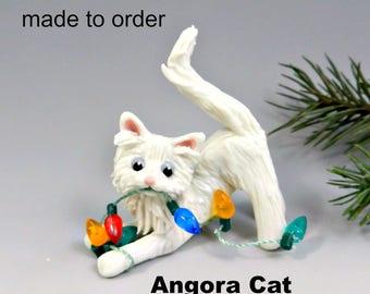 Angora Cat PORCELAIN Christmas Ornament Figurine Made to Order
