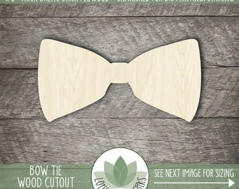 Bowtie Wood Cut Shape, Unfinished Wood Bowtie Laser Cut Shape, DIY Craft Supply, Many Size Options, Blank Wood Shapes