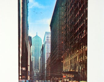 Chicago  Illinois Postcard 1959 / with stamp / LaSalle Street Chicago / board of trade building