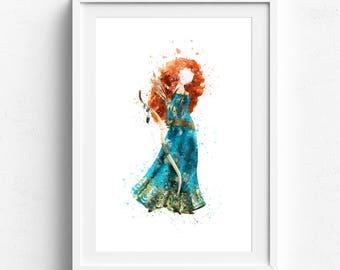 Merida print, princess merida, brave print, merida poster, disney merida, merida art, brave merida, disney printable, watercolor print, art