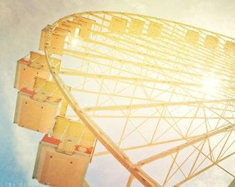 Sun through the Wheel, Wildwood NJ, Nursery Decor, Yellow Ferris Wheel, Carnival