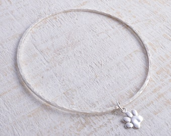 Silver paw bangle sterling silver bangle square hammered paw print charm pet memory 925 stacking bangle