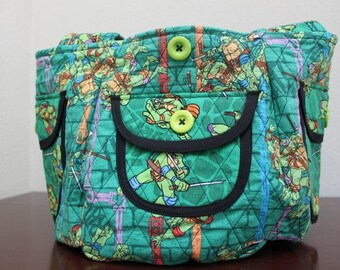 Handmade TEENAGE MUTANT NINJA Turtles Print Fabric Purse