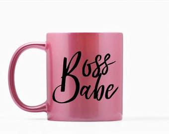 Boss Babe Mug, Boss Babe Coffee Mug, Boss Babe Tea Mug, Pink Mug, Boss Mug, Inspirational Mug, Funny Mug, Boss Gift, Gift for Her