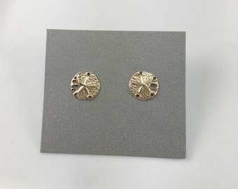 Gold Filled Dainty Sand Dollar Stud Earrings, Sand Dollar Stud Earrings, Tiny Gold Stud Earrings, Gift for Her, Gift Ideas, Minimal, Simple