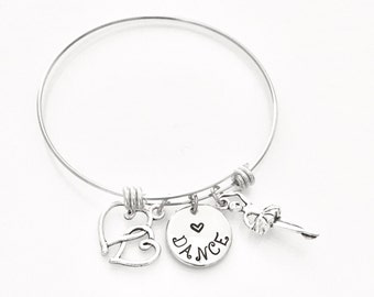 Gift for a dancer, dancer gift, customized bangle bracelet, stainless steel charm bracelet