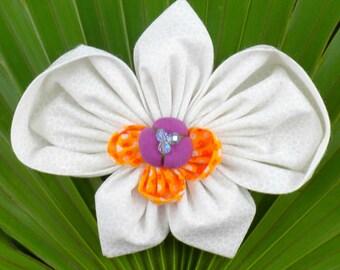 Fabric Flower Pin Brooch Orchid Pattern PDF Pattern Tutorial Kanzashi Flowers Headbands Phaleanopsis Bouquet Embellishment Wedding La Todera