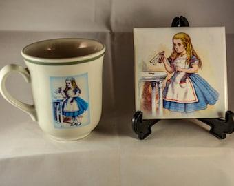 Sold..........Victorian Original Tenniel Drawing Alice in Wonderland Upcycled Mug and new ceramic coaster
