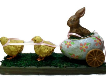 Easter Bunny & Chicks Handmade Primitive Collectible Figurine