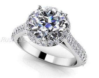 Beautiful 1 carat Forever Brilliant Round Cut Moissanite center gemstone & diamond 14 karat gold engagement ring or diamond semi mount