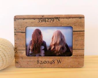 Latitude Longitude Frame Best Friend Gift Long Distance Friend Frame Gift Personalized Friendship Frame