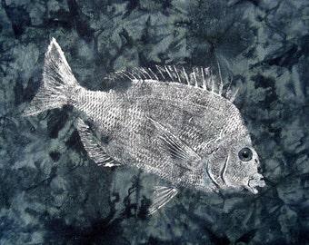 GYOTAKU fish Rubbing Blue Gray Scup 8.5 X 11 Fisherman Gift quality salt Water Porgy Art Print by artist Barry Singer